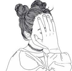 art, black, depression, drawing, fashion, girl, grunge, hair ...