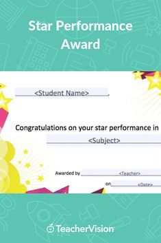 Recognize a student's accomplishments in a specific subject or their year-long success with this star performance award. This printable award is customizable. Personalize it with the student's name and award details before printing. Student Rewards, Printable Star, Award Certificates, Behavior Management, Awards, Success, Classroom, Printables, Motivation