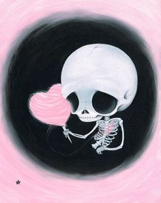 Sugar Fueled Skeleton Cotton Candy Heart Halloween Pop Surrealism Surreal Lowbrow creepy cute big eyes eye art print