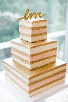 Square, Three-Tier Naked Wedding Cake