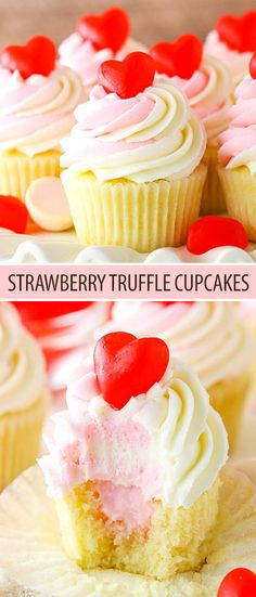 Moist vanilla cupcakes filled with strawberry truffle filling & topped with white chocolate buttercream! An easy strawberry dessert perfect for Valentine Strawberry Truffle, Easy Strawberry Desserts, Strawberry Cupcakes With Filling, Cupcake With Filling, Cream Filled Cupcakes, Chocolate Cupcakes Filled, Food Cakes, Mini Cakes, Cupcake Cakes