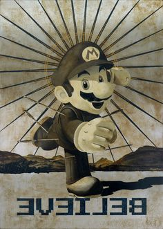 Jose Luis Ferragut - Believe Mario - 2011, oil on stainless steel canvas. 130 X 92 CM.