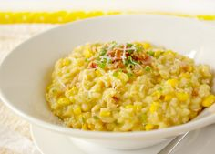 Sweet Corn Risotto....with chives, parm, garlic, & pancetta. This sounds delicious!
