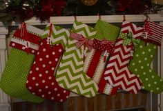 2 Christmas stockings personalized in bright red and by NanLouise, $60.00