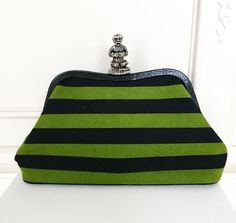 ON TOP OF CLOUDS ** PRADA MONKEY CLASP STRIPED CLUTCH BAG