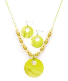 Another great find on #zulily! Lime Green Cutout Shell Disc Pendant Necklace & Drop Earrings #zulilyfinds