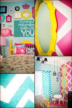 great idea to use all different frames painted bright colors with sayings or pictures