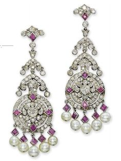 Art Nouveau - Diamond, Pink Sapphire, Pearl Pendant Earrings