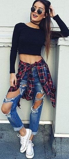 #fall #trending #outfits |  Black Crop Sweater + Plaid Shirt + Destroyed Jeans