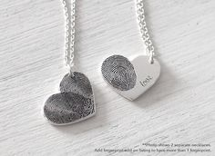 20% OFF Custom Actual Fingerprint Heart Necklace - Delicate Personalized Fingerprint Necklace For Her - Wedding Gifts - PN21 by GracePersonalized on Etsy https://www.etsy.com/listing/210646469/20-off-custom-actual-fingerprint-heart