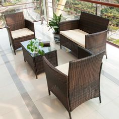 Black Rattan Stacking Garden Furniture 3 Piece Vase Set Patio Outdoor Coffee Table 2 Chairs