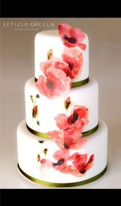 Wafer paper painted poppy  wedding cake ~ all edible    https://www.facebook.com/pages/Letizia-Grella-cake-studio-/15668105771924...