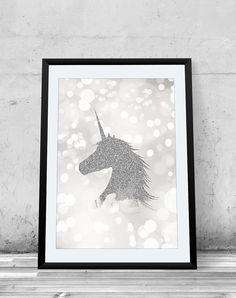 Unicorn, silver, faux glitter, giclee art print, wall decor, fantasy, magical creature