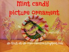 Wrapped mint candy picture ornament. Perfect ornament for your Xmas tree or as a gift for the parents :)