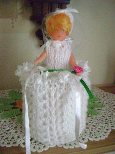 Hand Knitted Bride Doll Toilet Roll Cover in Home, Furniture & DIY, Bath, Toilet Roll Holders Shabby Chic Toilet, Bride Dolls, Toilet Roll Holder, Hand Knitting, Rolls, Hands, Bath, Crafty, Cover