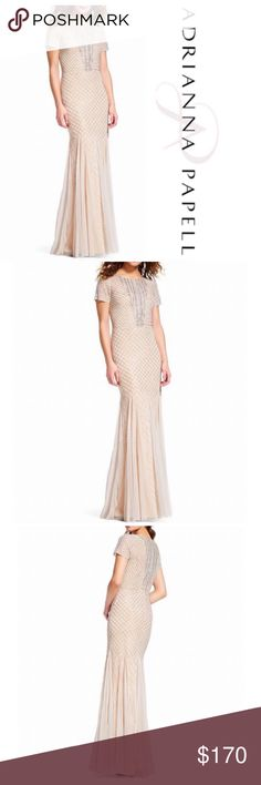 Adrianna Papell Beaded Round Neck Gown Adrianna Papell Beaded Round Neck Mermaid Gown-Silver/Nude. 98% of beads in tact.  From Adrianna Papell, this gown features:  mermaid silhouette beaded bodice rounded neckline with beaded trim short sleeves godet details center back zipper with closure polyester professional spot clean Adrianna Papell Dresses