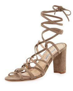 Jena Suede Lace-Up Sandal, Taupe by Manolo Blahnik at Neiman Marcus.