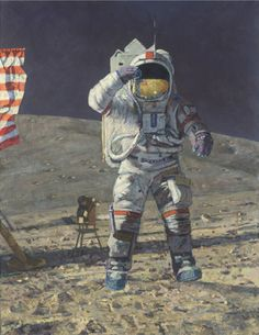 "John Young Leaps into History by Alan Bean LIMITED EDITION CANVAS Image size: 22""w x 29""h."