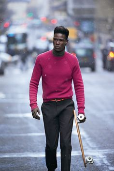 "Hermès Fall-Winter 2013. Crew-neck sports sweater in Indian-pink cashmere. Roll-neck sweater in tundra extra-fine cashmere. ""Saint-Germain"" trousers in brown cotton gabardine with cut-out detail. #hermes #menswear #fashion #sport"