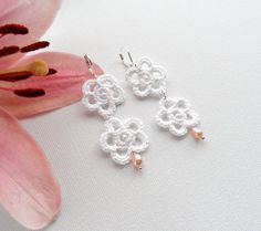 Crochet Earrings  White Flowers Earrings  by CraftsbySigita,