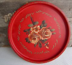 Vintage Red Metal Tole Tray Hand Painted Rose by corrnucopia, $18.00