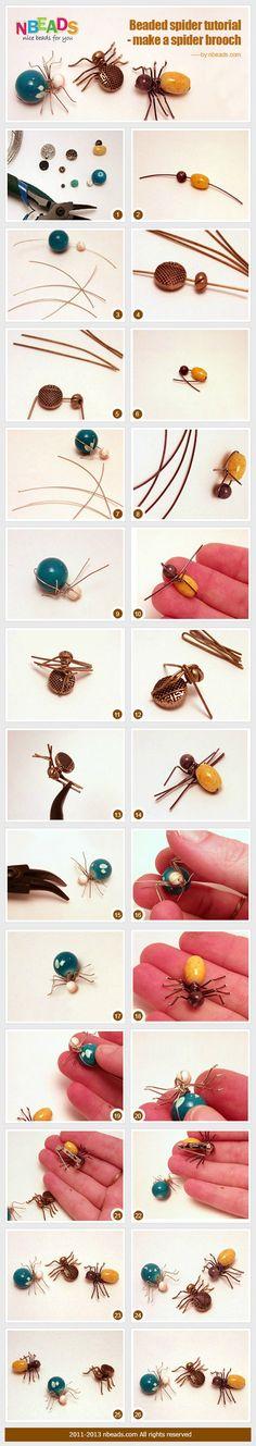beaded spider tutorial - make a spider brooch