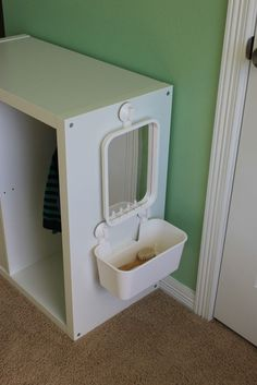 Great idea to encourage practical life skills and self-grooming -- Montesori ideas for making your home accessible to babies and toddlers
