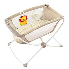Fisher Price rock 'n play is perfect for newborns. A cheaper and more portable version than a bedside co-sleeper. Also easy for travel or moving from room-to-room. There is a version that's more of an incline vs. a bassinet that I also like a lot.