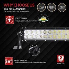 "Amazon.com: MICTUNING 32"" Inch 180W COMBO Spot flood beam LED Lights Bar - 13200 Lumen 4x4 Off Road Polaris Razor ATV SUV UTV Jeep: Automotive"