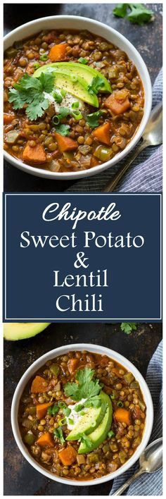 One Pot Chipotle Sweet Potato & Lentil Chili- healthy and packed with delicious chipotle flavor! Only 300 calories per serving! Latin Food Recipe Share and enjoy! Lentil Recipes, Chili Recipes, Soup Recipes, Vegetarian Recipes, Cooking Recipes, Healthy Recipes, Vegetarian Chili, Vegetarian Lunch, Vegan Soup