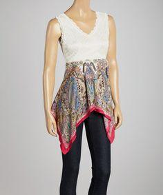 Look what I found on #zulily! White & Fuchsia Handkerchief V-Neck Top #zulilyfinds