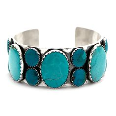 Richard Schmidt Sterling Silver and Turquoise Cuff at Maverick Western Wear