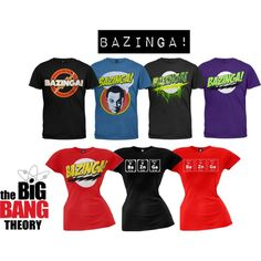 """Sheldon Cooper's famous """"bazinga!"""" is showcased in these awesome Big Bang Theory t-shirts! Everyone has the regular ol' bazinga shirt, but do they have these awesome versions? Show off your nerdy side with a periodic table of elements shirt, or our blue Sheldon face shirt... which is totally exclusive to Old Glory!"""