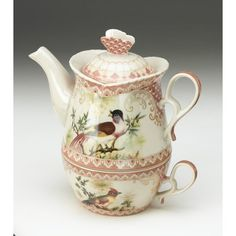Stroman Bird Tea for One Set - Stacked Porcelain Teapot & Cup - New. Tea Cup Saucer, Tea Cups, Tea For One, China Tea Sets, Tea Pot Set, Tea Strainer, Porcelain Ceramics, Porcelain Dinnerware, Painted Porcelain