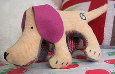 Dog Softie/Toy Free Pattern (this Blog, Bustle & Sew, have some great free 'vintage' style patterns).