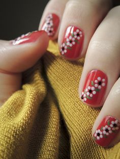 Creative Flower Nails Art For Your Valentines Day 46 Cute Nail Art, Easy Nail Art, Cute Nails, Pretty Nails, Red Nails, Hair And Nails, Art Deco Nails, Finger Nail Art, Floral Nail Art