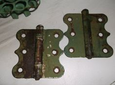 Vintage Set Old Rustic Green Hinges by BitsOfLeatherNLace on Etsy, $12.00