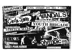 Circle Jerks, Vandals, Youth Brigade, Stretch Marks, Detox.  7 Dec 1984.  Olympic Auditorium, Los Angeles.