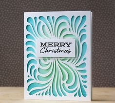 Laura Bassen used the Hero Arts Swirly Background cut file for the Silhoutte to create a beautiful Christmas card --blue & g background Stamped Christmas Cards, Beautiful Christmas Cards, Xmas Cards, Handmade Christmas, Holiday Cards, Christmas Decor, Making Greeting Cards, Greeting Cards Handmade, Card Making Inspiration