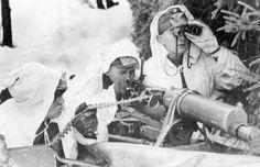 The crew of a Finnish-modified Russian Maxim heavy machine gun. December, 1939 - pin by Paolo Marzioli