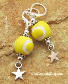 Flyball Star Dog Lover Earrings in silver at ForLoveofaDog.com #dogjewelry #flyball