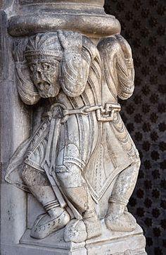 Atlantes in chains in the portal, Cathédrale Sainte-Marie d'Oloron-Sainte-Marie, France.  Romanesque Romanesque Sculpture, Romanesque Art, Romanesque Architecture, Art Romain, Medieval Paintings, Ange Demon, Sainte Marie, Roman Art, 12th Century