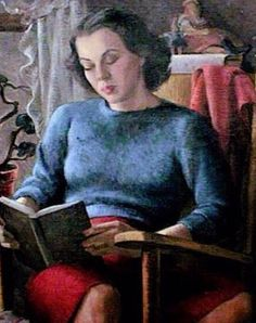"""Girl Reading"", 1940 by Lucy McGowan Diecks #painting #twitart Source: https://twitter.com/tiagoaparicio/status/679353059131187200"