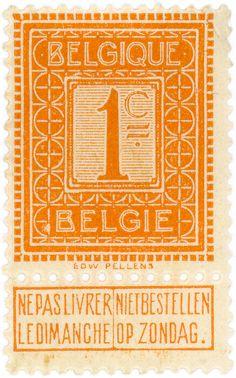 vintage postage stamps, Belgium postage stamp: orange c. 1912