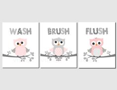 Girls Bathroom Art Decor Pink Gray Owl Bathroom Kids Bathroom Art Owls Wash Brush Flush Bathroom Decor, Set of 3 by vtdesigns on Etsy