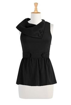 eShakti Women's Vintage collared top eShakti. $49.95. Slips on over head; partial side hidden zip closure, Sleeveless, Princess seamed bodice, Gathered peplum skirt , Low hip length , Polyester, woven crepe, no stretch, midweight, Machine wash. All sizes 0-36W available in Short (5'3'' and below); Tall (5'9'' and above); and Regular (5'4'' to 5'8''). Carefully select from the pulldown menu your size and your height.