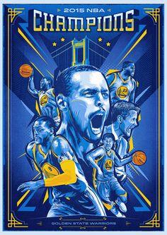 Golden State Warriors '2015 Champs' Illustration