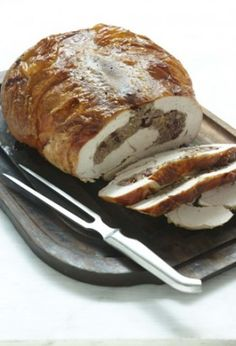 TURKEY BREAST STUFFED WITH ITALIAN SAUSAGE AND MARSALA-STEEPED CRANBERRIES... Christmas dinner