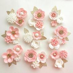 Hand made blush/ivory felt 3d flowers/roses & glitter leaves.