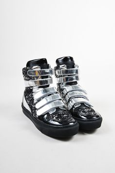 Metallic Silver and Black Louis Vuitton Leather Sequined High Top Sneakers